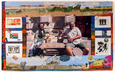 Martha Ressler, Celebrating the Destruction of Apartheid, Art Quilt, 60 x 37.5""