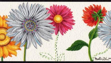 Empapelar, colorear, bordar (acrílico sobre papel tapiz) VENDIDA