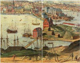 Skeppsholmen and Blasieholmen, Stockholm. View from east towards Blasieholmen with Kastellholmen in the foreground. Oil painting by unknown artist from around 1700.