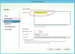 Citrix XenDesktop Studio Edit delivery group