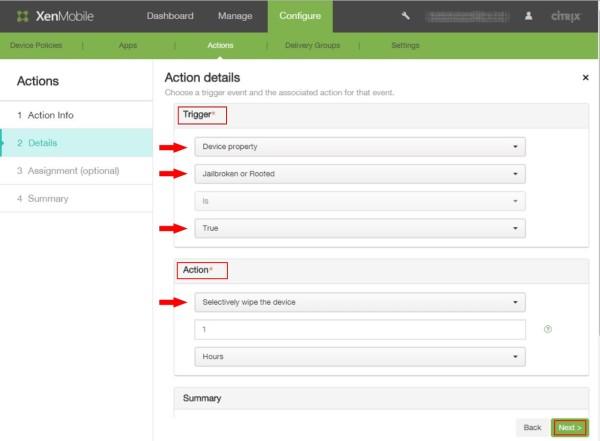Configure Actions