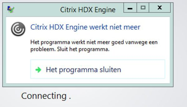 Citrix HDX engine has stopped working