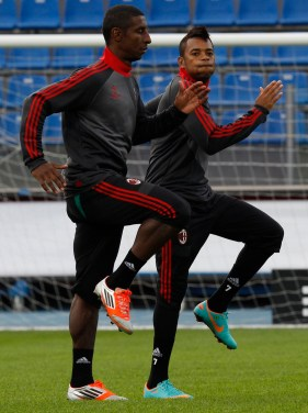 AC Milan's Robinho and Constant attend a training session at the stadium Petrovsky in St.Petersburg
