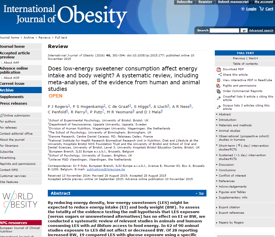 international journal of obesity