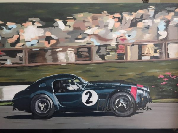 Cobra! Painted to celebrate the iconic Shelby 289 / 427 Cobra race car. I've been lucky enough to see the actual car in racing anger at Goodwood, where I go most years. This painting is based on a photo by Richard Huckett.
