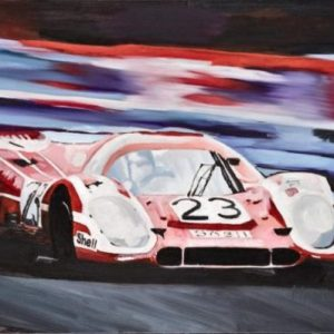 """Winning Ways A fine art original painting of the iconic number '23' Porsche 917 at the Le Mans 24 hour race. The original canvas is 36"""" x 24"""" along with limited edition signed A2 pigment prints on Somerset ragroll paper. The canvas was painted to celebrate the iconic Porsche 917 Group C racing car that dominated at Le Mans 24 hour motor race for many years."""
