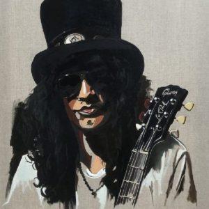 slash Guns n Roses fine art portrait oil painting