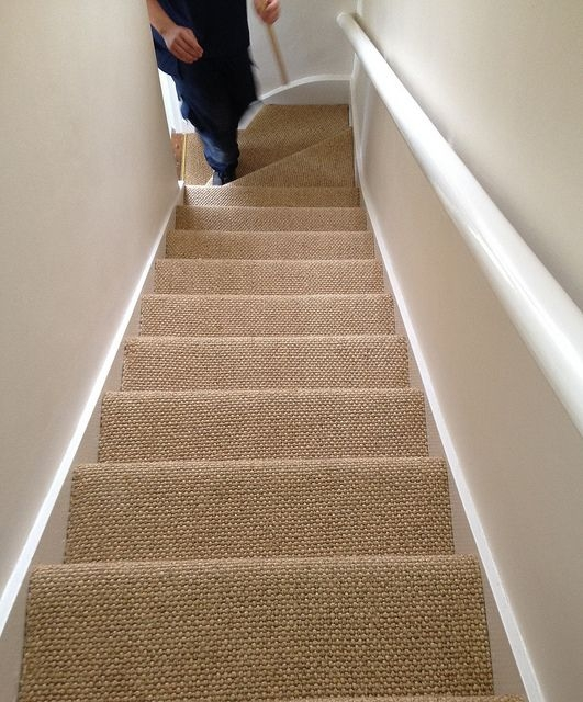 Add Value To Your Home Changing From Carpet To Real Wood   Different Carpet On Stairs To Landing   Des Kelly   Striped Carpet   Wood   Grey Carpet   Flooring