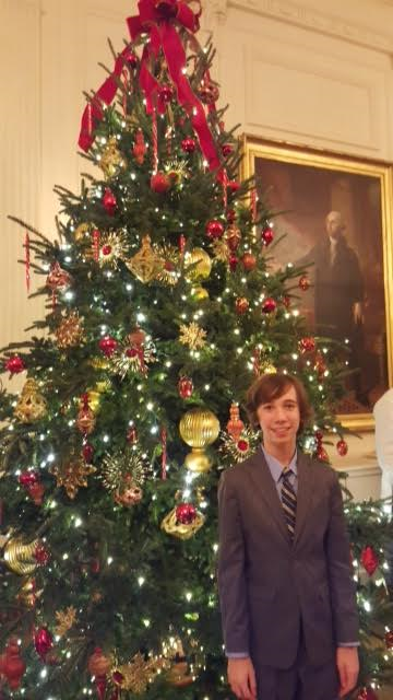 Here is another cool Christmas tree and the White House portrait of George Washington in the West Room.