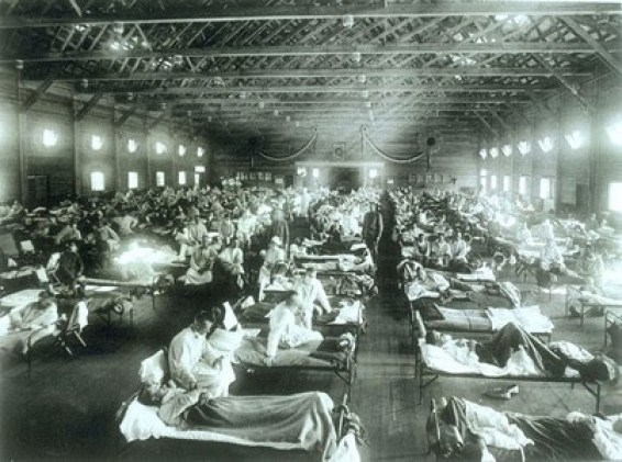 Camp Funston Fort Riley soldiers with influenza National Archives