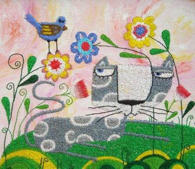 Andrew Johnson's whimsical stitched art is sometimes inspired by his cats.