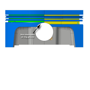 This diagram demonstrates the different between the conventional piston ring size on the right and the new thin ring design used by MAHLE on the left. This design results in far less frictional loss due to ring tension and surface area