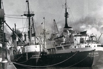 A Greek and Russian Ship huddle alongside the dockside around 1965.