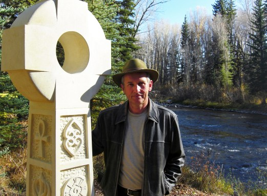 Martin Cooney with Contemporary Traditional Celtic Cross, Kansas Creme Limestone Sculpture by Martin Cooney, Woody Creek, Colorado
