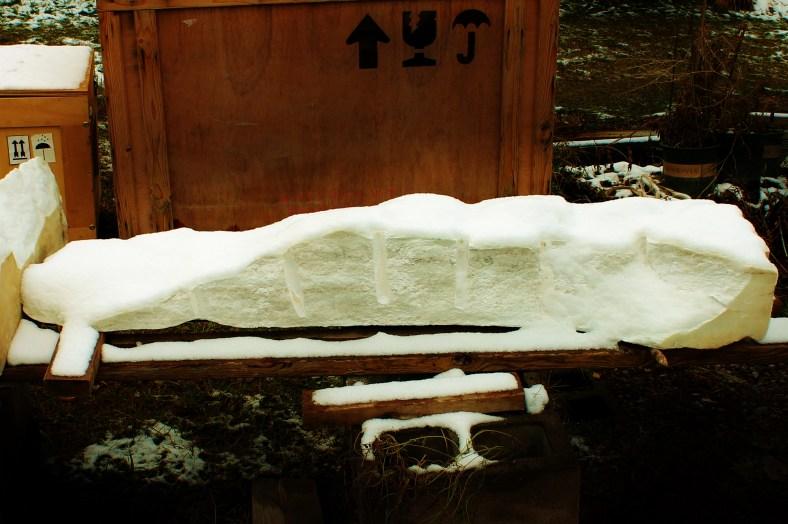 Maypole, freshly split rough block. Curvilinear Colorado Yule Marble Sculpture by Martin Cooney