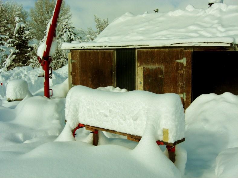Deep and crisp and even snow blankets the Birdhaven Studio Workshop, Woody Creek, Colorado elevation 7,300 ft