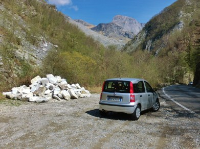 """The Bee"" 1, Fiat Panda, Roadside Fragmented Carrara Marble, The Bee 1, The Road to Castelnuovo, Marble Dump"