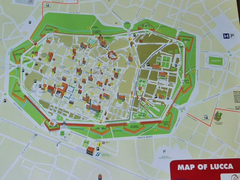 Map, Bicyling Around Lucca, Tuscany, Italy