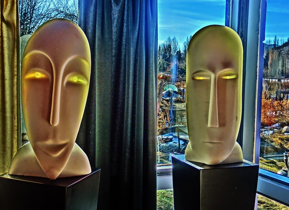 'Girl in the Moon' and 'Salt of the Earth, Hand Carved Marble Masks