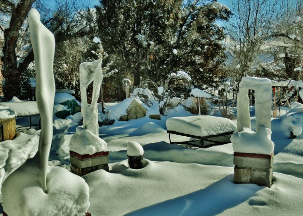 'Catwalk'. 'Wolf Man Jack', 'Oblique Perspective', The Sculpture Garden, Woody Creek CO