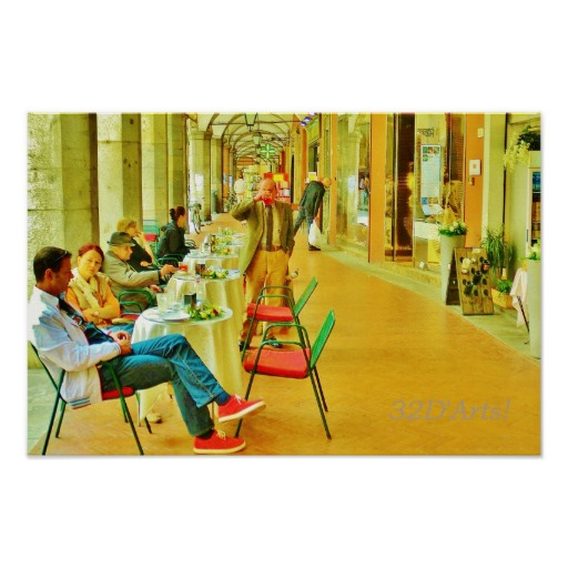 Afternoon at the Arcade, Pisa, Poster Print