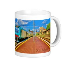 Florence Train Arrival at Lucca Railway Station, Classic Mug, Right