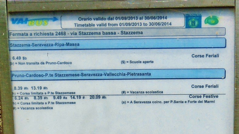 Infrequent Bus Schedule, on the Road to Forte dei Marmi Hostel, The North West Tuscan Way, by Martin Cooney
