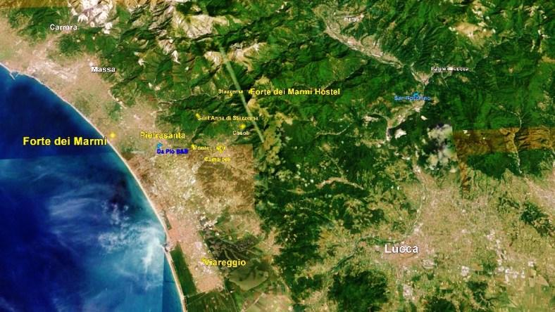 Forte dei Marmi Hostel, Map 1, Google Earth