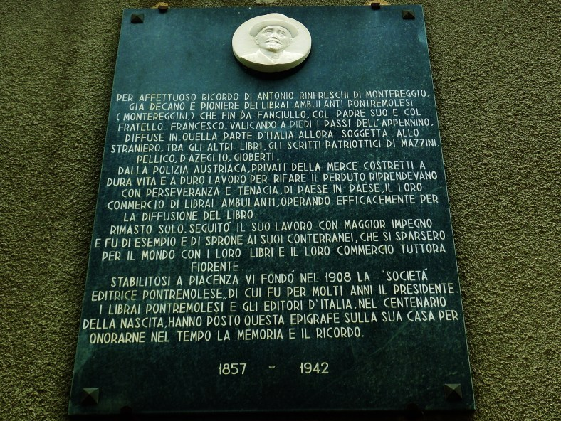 Revered editor wall plaque, Montereggio, Lunigiana, on the North West Tuscan Way, Italy