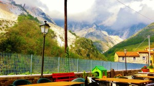 Terrace with a view, Colonnata, Lard Capitol of the World, Carrara, Italy