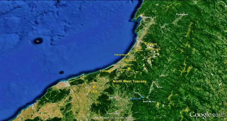 North West Tuscan Way, Carrara Big Map 1 Google Earth