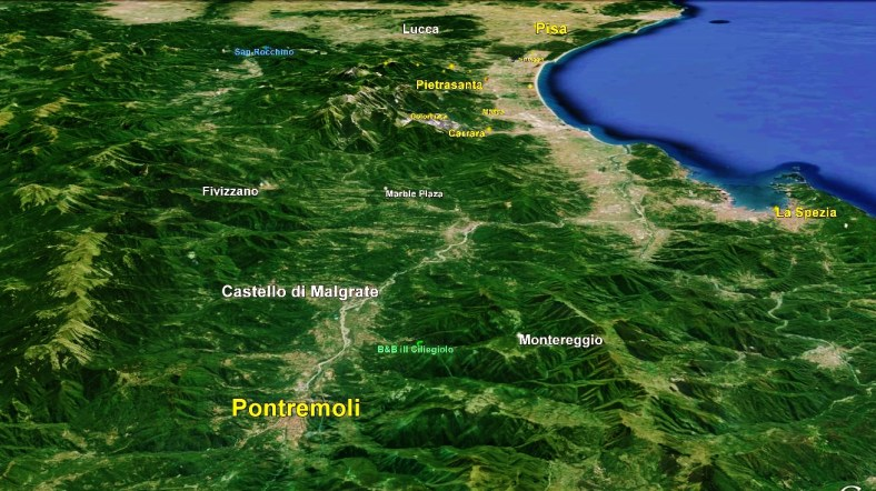 Pontremoli Map 2 Google Earth, North West Tuscan Way