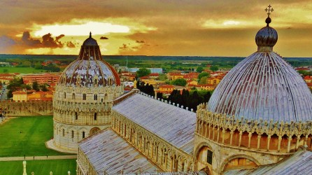 Pisa Cathedral, Baptistry and Mediterranean Sunset viewed from The Leaning Tower of Pisa, Italy, on the North West Tuscan Way by Martin Cooney