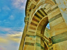 Crown Atop of The Leaning Tower of Pisa, Italy, on the North West Tuscan Way by Martin Cooney