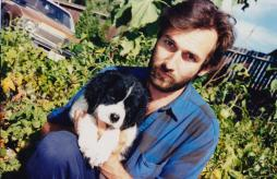 Martin Cooney with Gnasher, Garden of his SE Portland home, Oregon