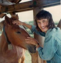 Martin Cooney author martincooney.com pets a wild horse, Austria