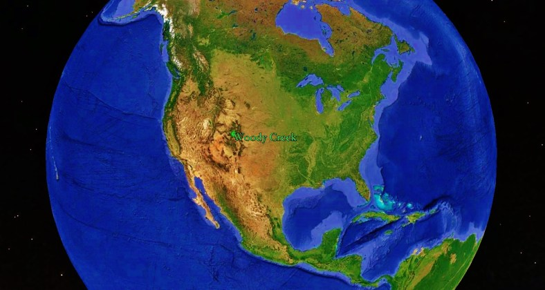 North America and Woody Creek from Space, map 10