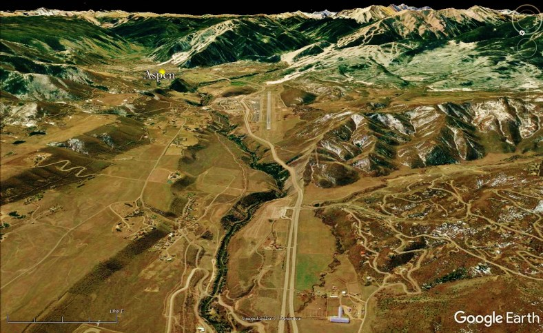 Aspen Airport, Woody Creek from Space, map
