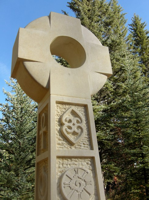 Contemporary Traditional Celtic Cross, Designed and Carved by Martin Cooney, Kansas Creme Limestone, Commission, Woody Creek, CO