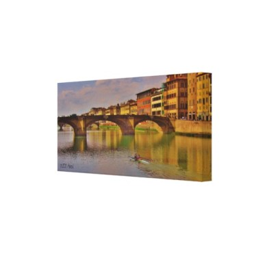 Arno River Sunset, Florence, Wrapped Canvas Print, 21 x 10, right