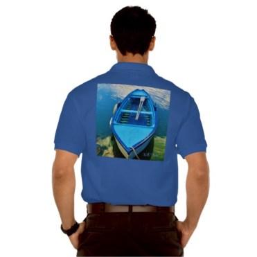 Blue Italian Rowing Boat, Men, Gildan Jersey Polo Shirt, Back, Model, Navy Blue
