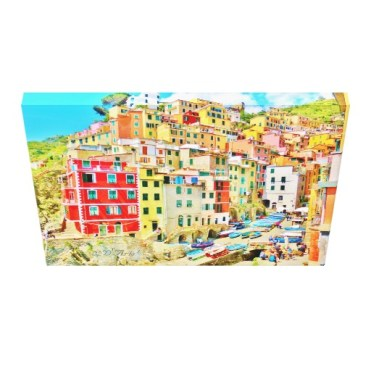 Cinque Terre Fishing Village Wrapped Canvas Print, 24 x 18, down
