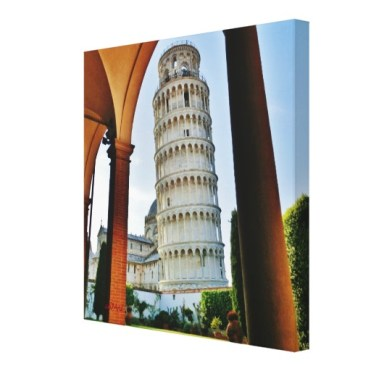 Leaning Tower at Twilight, 14x14 Right. Wrapped Print