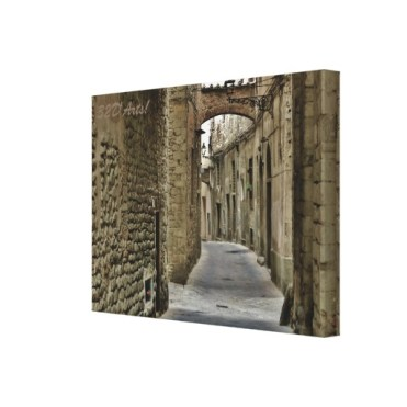 Pistoia Medieval Arched Alley, 22 x 16, Stretched Canvas Print