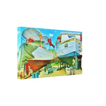 Tuscan Coast Dry Docked Boats, Wrapped Print, 22 x 12, left