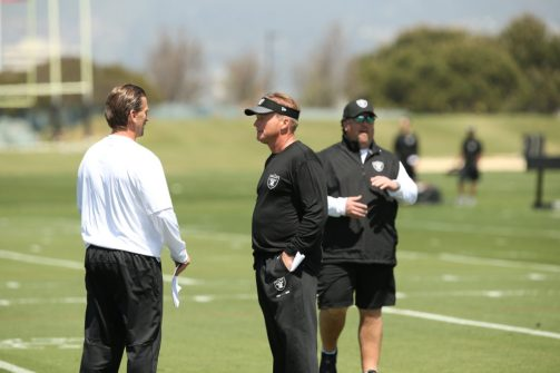 Raiders brain trust Head Coach Jon Gruden, Offensive Coordinator (in white) Greg Olson & Defensive Coordinator Paul Guenther