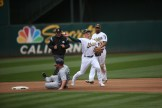 Oakland Athletics vs Seattle Mariners 3B #26 Matt Chapman Completes double play Photos by Tod Fierner Martinez News-Gazette
