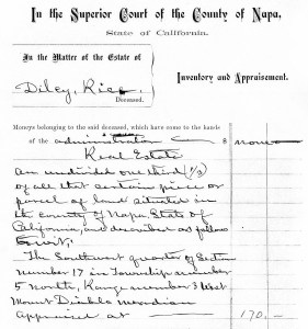 Dilcy Estate's Inventory & Apprisement, February 6, 1880.