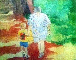 Brenda walking with her grandson