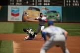 Oakland Athletics vs Toronto Blue Jay's #26 Matt Chapman tries to break up a double play A's win 8-3 Photos by Tod Fierner ( Martinez News-Gazette )